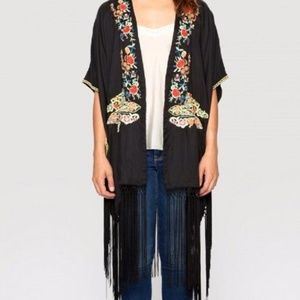 Johnny Was Anabelle Silk Black Fringe Kimono